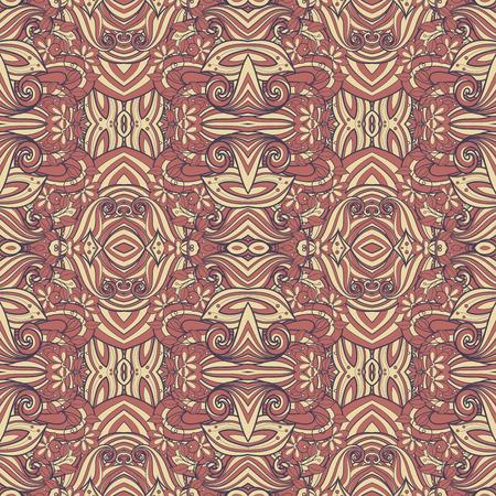 vitrage: Seamless Abstract Tribal Pattern (Vector). Hand Drawn Ethnic Texture, Flight of Imagination Illustration