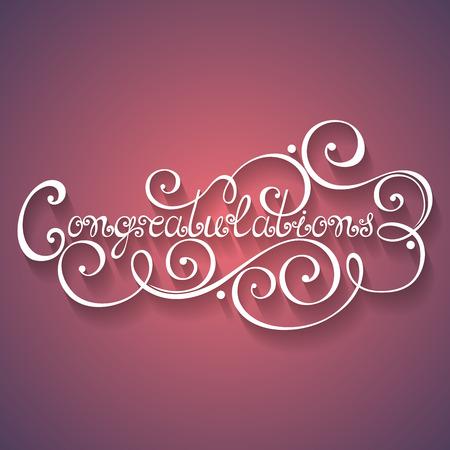 typography signature: Felicidades vector de inscripci�n, vacaciones Invitaci�n, boda. Hand Drawn letras. Las letras de la vendimia adornado