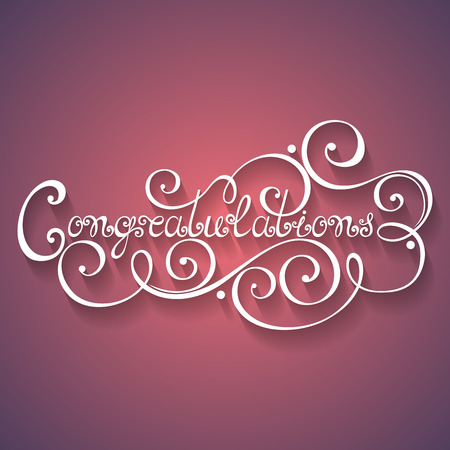 laud: Vector Congratulations Inscription, Holiday Invitation, Wedding. Hand Drawn Lettering. Ornate Vintage Lettering