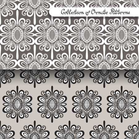 Set of 2 Seamless Vintage Patterns (Vector). Colored Design. Hand Drawn Tile Texture, Ethnic Ornament Vector