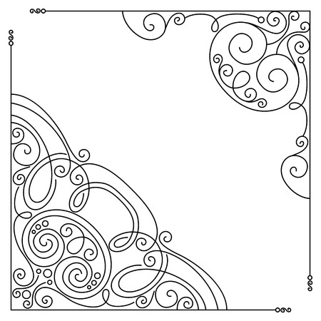 Vector Set of Vintage Template with Ornate Lace Corners. Hand Drawn Borders in Trendy Linear Style. Wedding Decor Vector