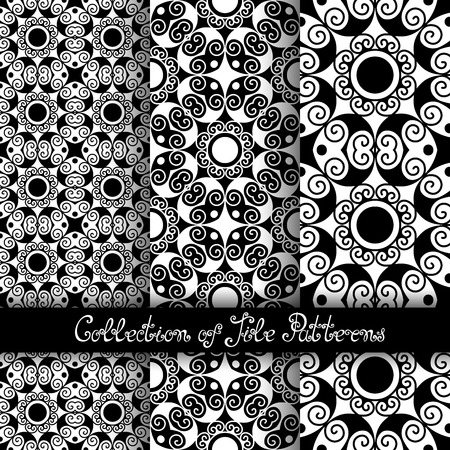 vitrage: Set of 3 Seamless Vintage Patterns (Vector). Black and White Design. Hand Drawn Tile Texture, Ethnic Ornament