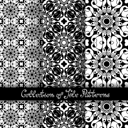 Set of 3 Seamless Vintage Patterns (Vector). Black and White Design. Hand Drawn Tile Texture, Ethnic Ornament Vector