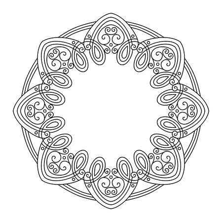 Vector Vintage Round Frame. Hand Drawn Border in Trendy Linear Style. Wedding Decor Vector