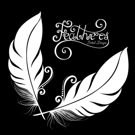 Vector Peerless Decorative Feather, Tribal design, Tattoo Иллюстрация
