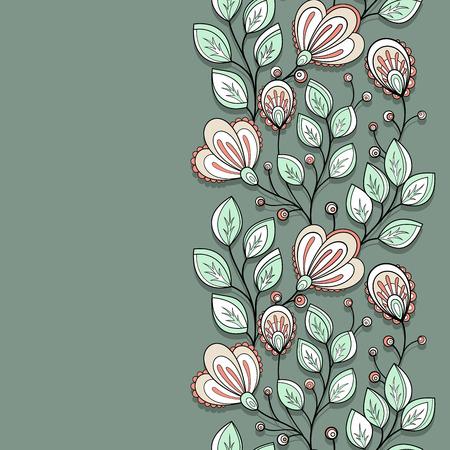 bordure de page: Contexte vecteur de couleur floral. Main Texture Dessiné avec des fleurs, fleurs décoratives, Coloring Book