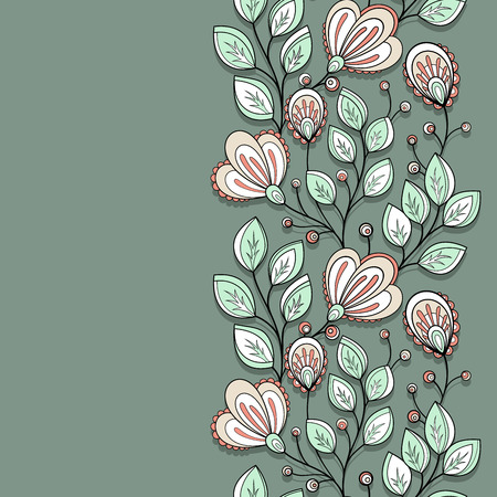 ornate border: Vector Colored Floral Background. Hand Drawn Texture with Flowers, Decorative Flowers, Coloring Book