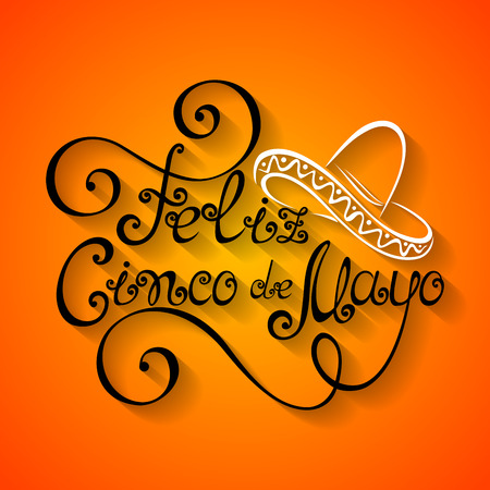 Vector Cinco de Mayo Inscription with Sombrero, Hand Drawn Holiday Lettering. Ornate Vintage Lettering