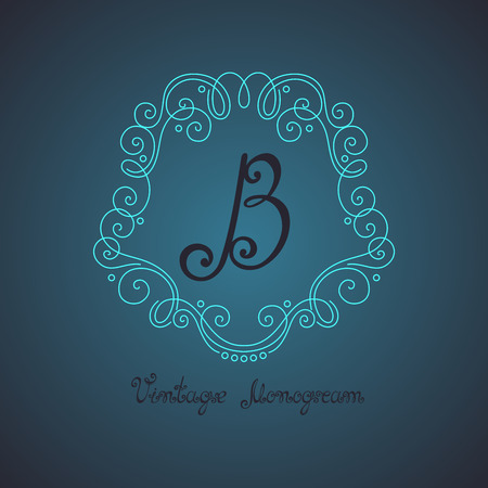 smithery: Vector Vintage Template with Ornate Monogram. Hand Drawn Border in Trendy Linear Style