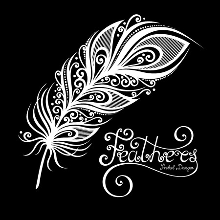 Vector Peerless Decorative Feather, Tribal design, Tattoo Vettoriali