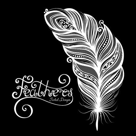 peerless: Vector Peerless Decorative Feather, Tribal design, Tattoo Illustration