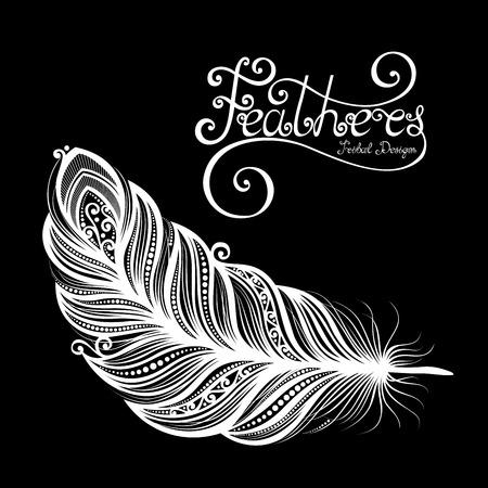 tatouage oiseau: Vecteur Peerless d�coratif Feather, la conception Tribal, Tatouage Illustration