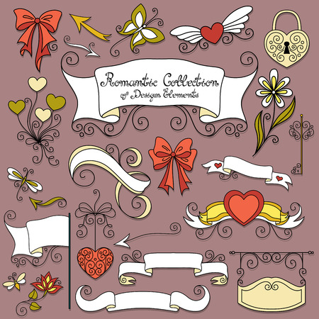 Vector Romantic Collection of Hand Drawn Design Elements. Scrolls, Borders, Flag, Lock with Key, Butterfly, Dragonfly, Bee, Arrows, Signboard, Air Balloons, Bows, Hearts and Flowers Vector