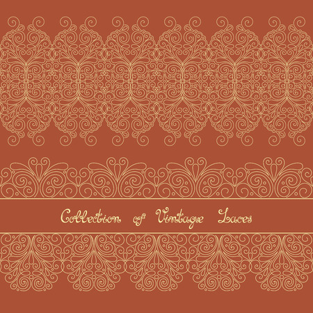 smithery: Vector Set of Vintage Template with Ornate Laces. Hand Drawn Borders in Trendy Linear Style. Wedding Decor Illustration