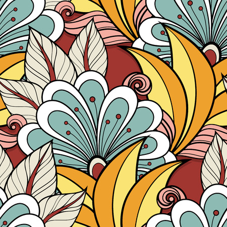 swatch book: Seamless Floral Pattern (Vector). Hand Drawn Floral Texture, Decorative Flowers, Coloring Book
