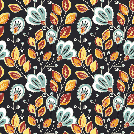 flower petal: Seamless Floral Pattern (Vector). Hand Drawn Floral Texture, Decorative Flowers, Coloring Book