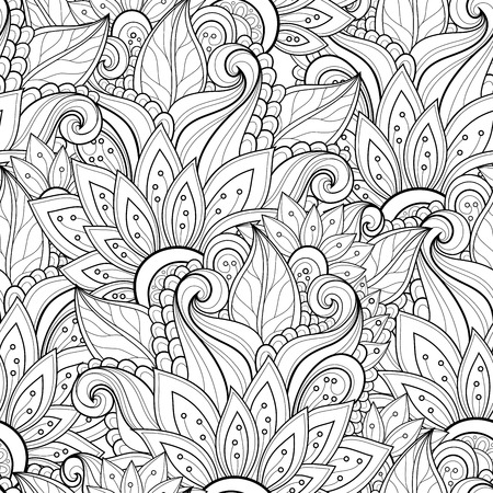 outlines: Seamless Monochrome Floral Pattern (Vector). Hand Drawn Floral Texture, Decorative Flowers, Coloring Book