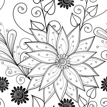 swatch book: Seamless Monochrome Floral Pattern (Vector). Hand Drawn Floral Texture, Decorative Flowers, Coloring Book