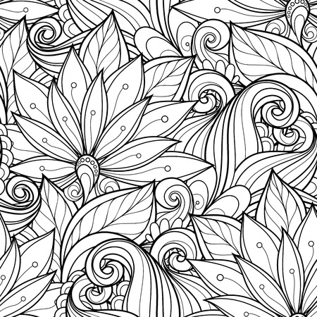 Seamless Monochrome Floral Pattern (Vector). Hand Drawn Floral Texture, Decorative Flowers, Coloring Book Vector