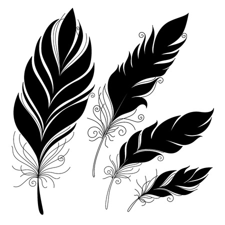 fantasy: Vector Peerless Decorative Feather, Tribal design, Tattoo Illustration