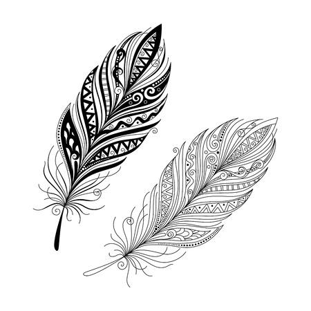 tatouage oiseau: Vecteur Peerless décoratif Feather, la conception Tribal, Tatouage Illustration