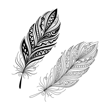 Vector Peerless Decorative Feather, Tribal design, Tattoo Vettoriali