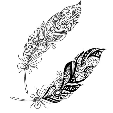 piuma bianca: Vector Peerless Decorative Piuma, disegno tribale, tatuaggio