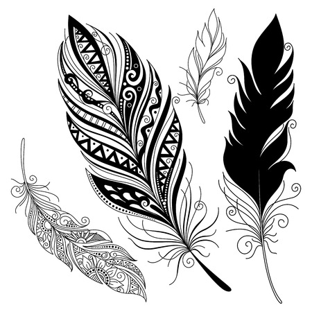 tattoo art: Vector Peerless Decorative Feather, Tribal design, Tattoo Illustration