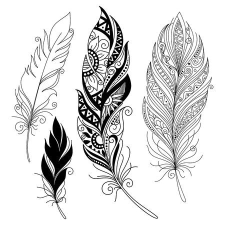 Vecteur Peerless décoratif Feather, la conception Tribal, Tatouage Banque d'images - 38844789