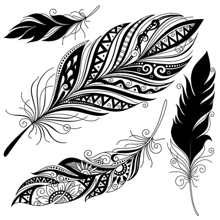 pavo real plumas: Vector Peerless decorativo pluma, dise�o tribal, tatuaje Vectores