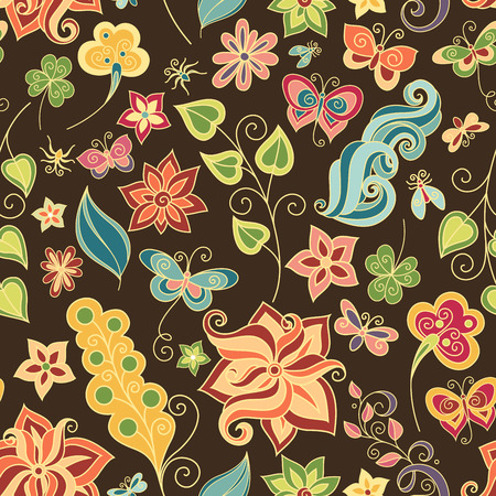Seamless Floral Pattern (Vector). Hand Drawn Floral Texture, Decorative Flowers, Coloring Book Vector