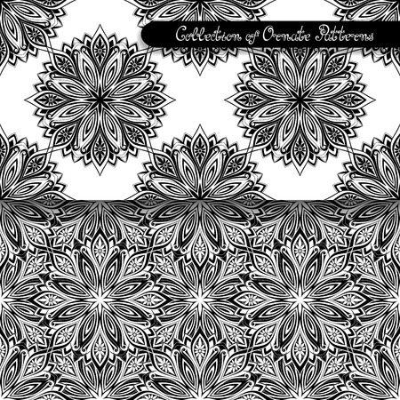 Set of 2 Seamless Vintage Patterns (Vector). Black and White Design. Hand Drawn Tile Texture, Ethnic Ornament Vector