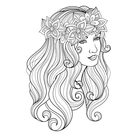 Vector Beautiful Young Woman with Long Blond Hair in Flower Wreath