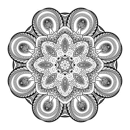 mehendi: Vector Beautiful Deco Black Mandala, Patterned Design Element, Ethnic Amulet