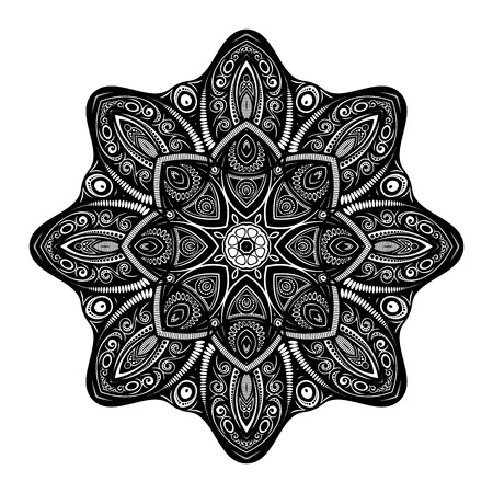 an amulet: Vector Beautiful Deco Black Mandala, Patterned Design Element, Ethnic Amulet