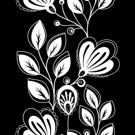 flowerbed: Vector Seamless Monochrome Floral Pattern. Hand Drawn Floral Texture, Decorative Flowers, Coloring Book Illustration