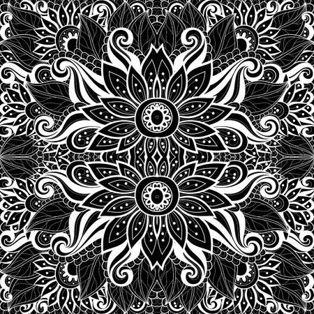 black carpet: Vector Seamless Abstract Black and White Tribal Pattern. Hand Drawn Ethnic Texture, Flight of Imagination