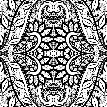 encajes: Vector incons�til abstracto Blanco y Negro Modelo tribal. Dibujado a mano Textura �tnica, el vuelo de la imaginaci�n Vectores