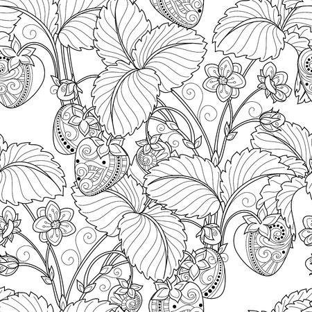 Vector Seamless Monochrome Fruit Pattern. Hand Drawn Decorative Strawberry