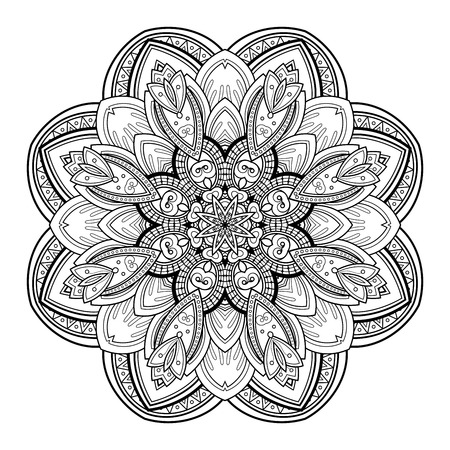 mehendi: Vector Beautiful Deco Black Mandala, Patterned Design Element, Ethnic Amulet
