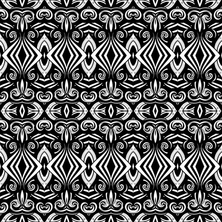 black line: Vector Seamless Monochrome Ornate Pattern. Hand Drawn Damask Texture, Vintage Style