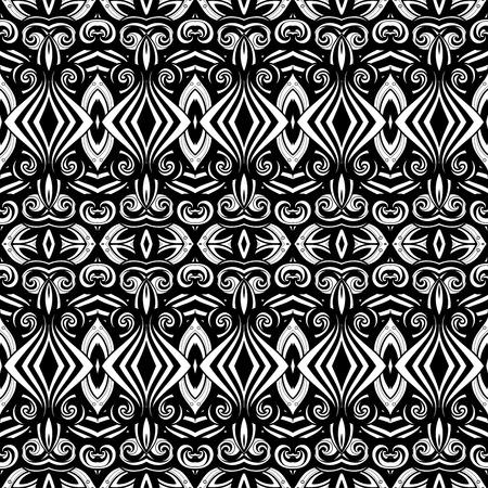 black damask: Vector Seamless Monochrome Ornate Pattern. Hand Drawn Damask Texture, Vintage Style