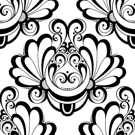 black damask: Vector Seamless Monochrome Ornate Pattern. Hand Drawn Damask Texture, Vintage Style