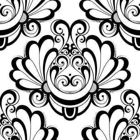 seamless damask: Vector Seamless Monochrome Ornate Pattern. Hand Drawn Damask Texture, Vintage Style