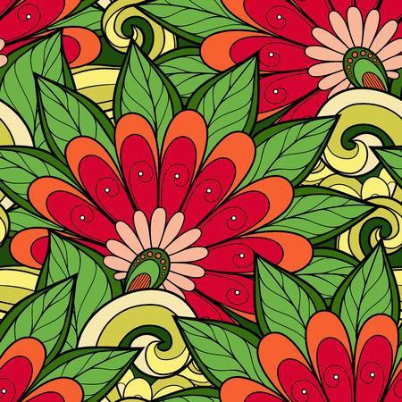 batik: Vector Seamless Floral Pattern. Hand Drawn Floral Texture, Decorative Flowers, Coloring Book