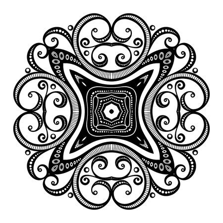 mendi: Vector Beautiful Deco Black Square, Patterned Design Element
