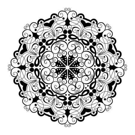 indian wedding: Vector Beautiful Deco Black Mandala, Patterned Design Element, Ethnic Amulet