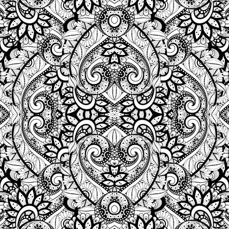 mandala flower: Vector Seamless Abstract Black and White Tribal Pattern. Hand Drawn Ethnic Texture, Flight of Imagination