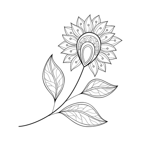 Vector Beautiful Monochrome Contour Flower, Floral Design Element