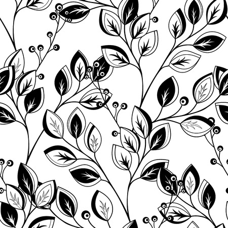 scrapbook elements: Vector Seamless Contour Floral Pattern. Hand Drawn Monochrome Floral Texture, Decorative Leaves, Coloring Book